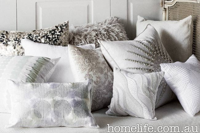 Shades of white and grey cushions
